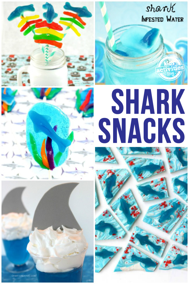 collage of edible kids crafts for shark week - shark inspired snacks