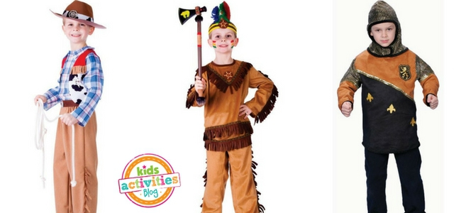 Halloween Costumes for Boys - Cowboy, Native American Warrior, Knight
