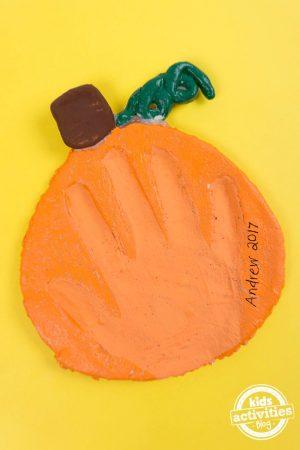 Salt Dough Pumpkin Handprint Keepsake