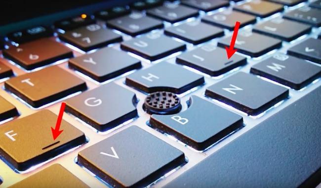 keyboard hidden uses from video where F & J keys have ridges