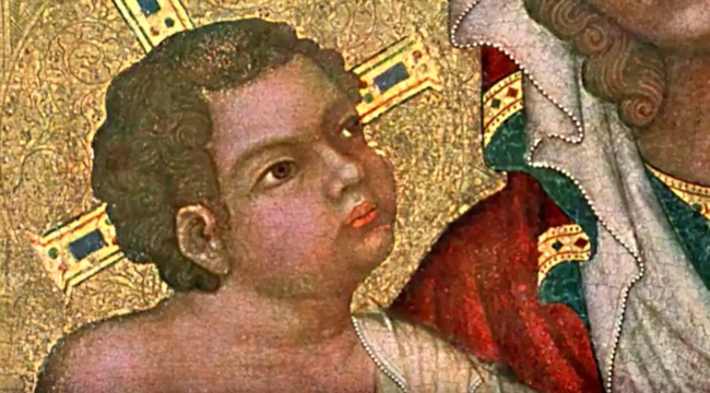 screenshot of video about medieval paintings and how kids and babies look so much older