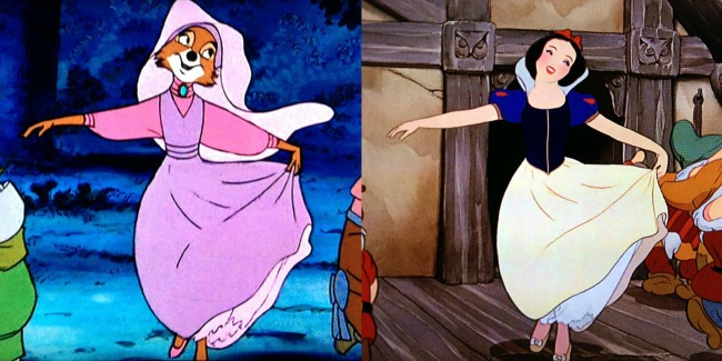 screenshot of two Disney movies with similar scenes