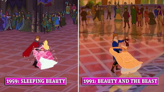 screenshot of Disney movies - Sleeping Beauty 1959 and 1991 Beauty and the Beast
