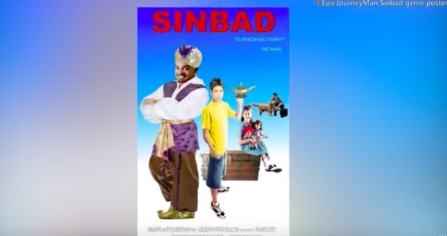 screenshot of false memories video showing Sinbad