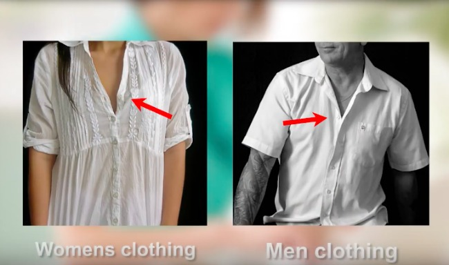 screenshot from Hidden Uses video - why are women's buttons on left and mens on the right