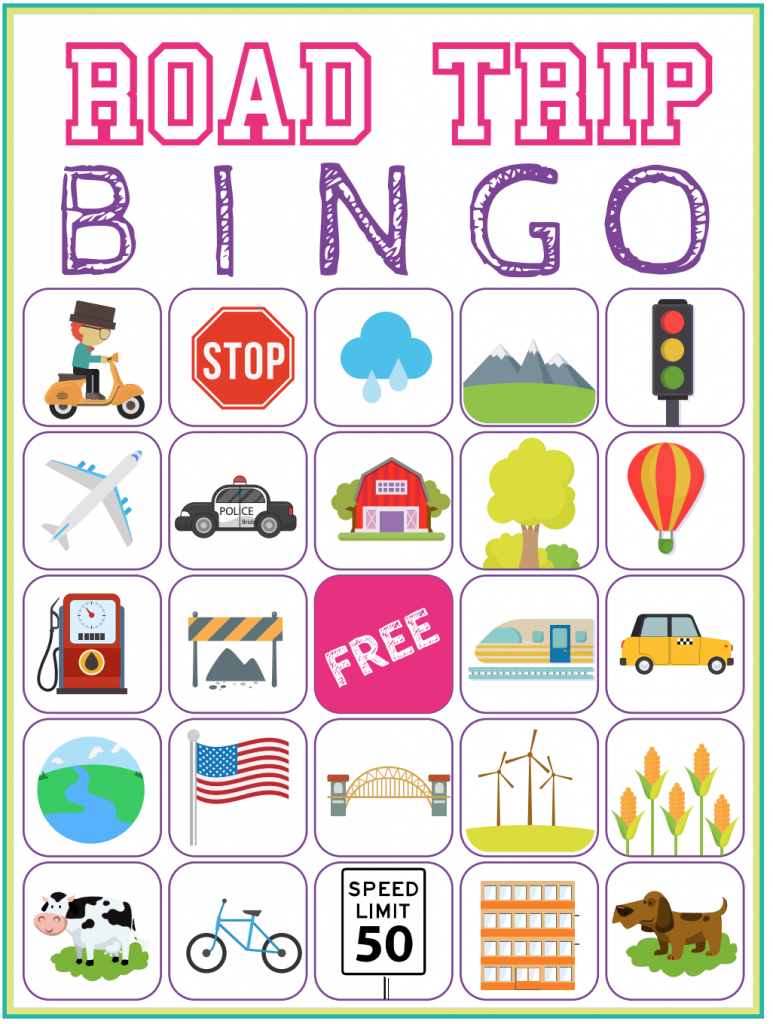 picture relating to Travel Bingo Printable named Highway Getaway Bingo Printable Recreation - Absolutely free Obtain of 6 Drive