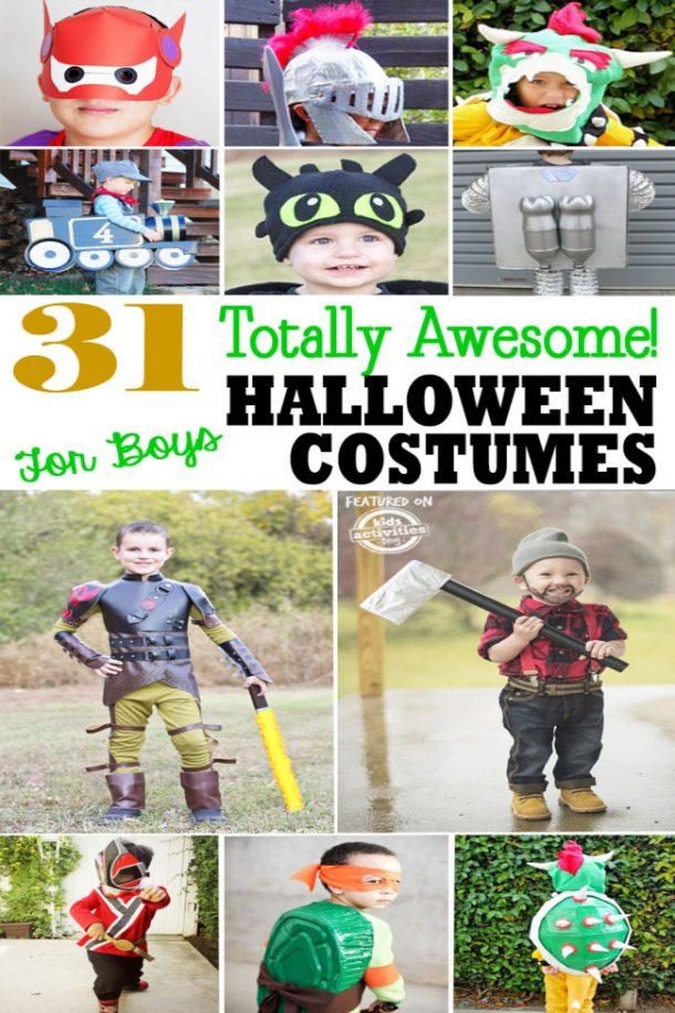 halloween boy costumes- superhero costumes, knights, trains, robots, bowser, ninja turtles, ninjas, lumberjacks.