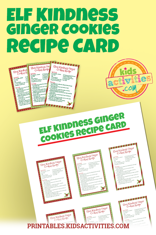 Elf Kindness Ginger Cookies Recipe Card