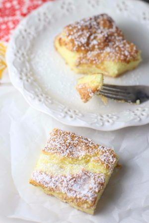 2 Ingredient lemon bars on plate with fork