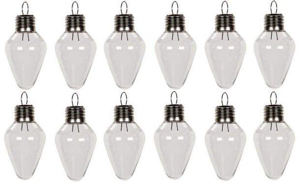 Clear Plastic Bulb Shape Ornaments