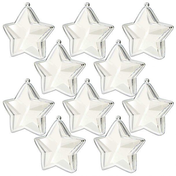 Étoile à clipser en plastique acrylique transparent remplissable