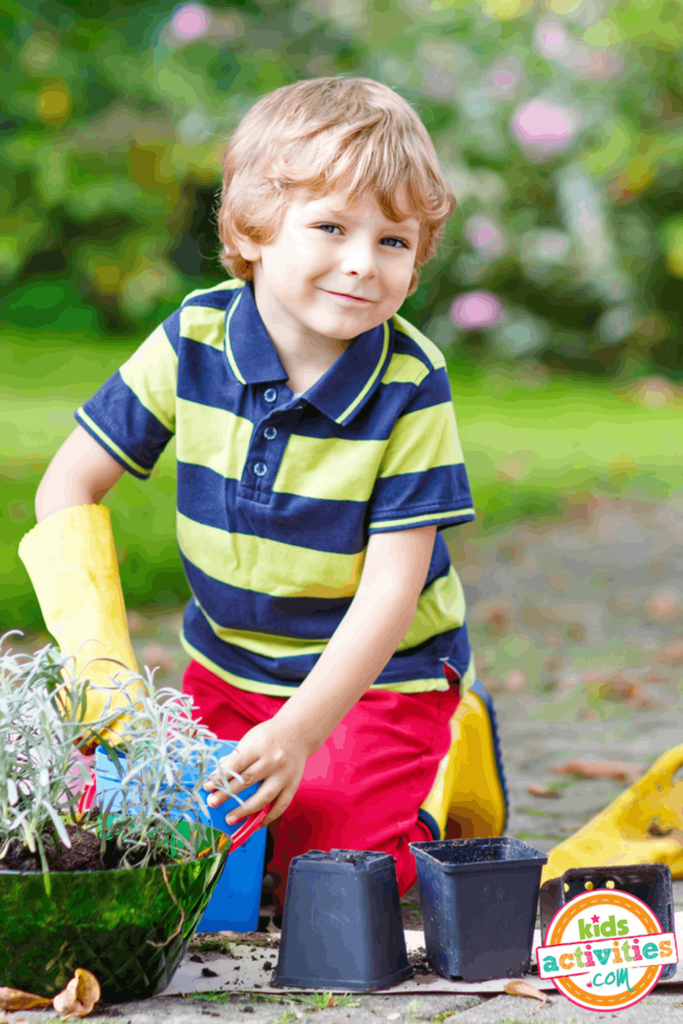 Busy Summer Boy Gardening