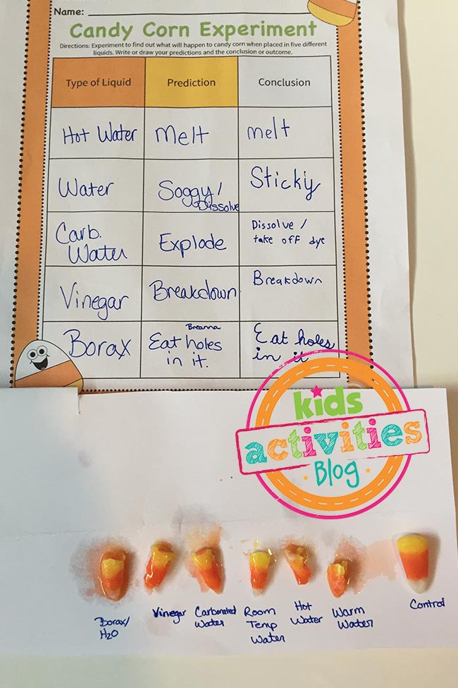Candy Corn Experiment with Printable Worksheet