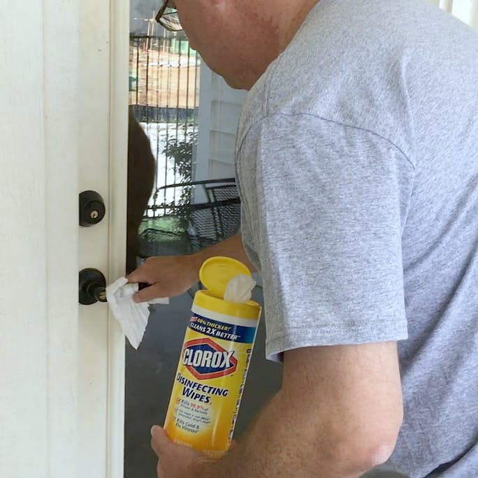 Cleaning Door with Clorox