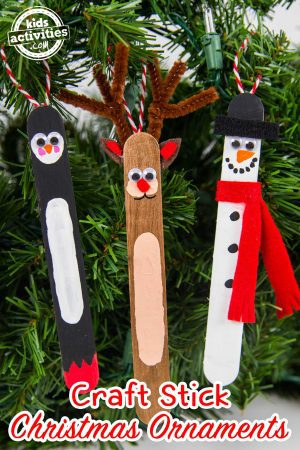 Craft Stick Christmas Ornaments Penguin Reindeer Snowman