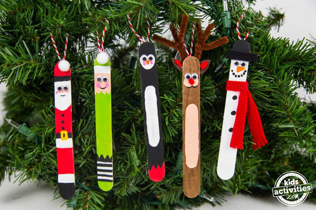 Craft Stick Christmas Ornaments Santa Elf Penguin Reindeer Snowman