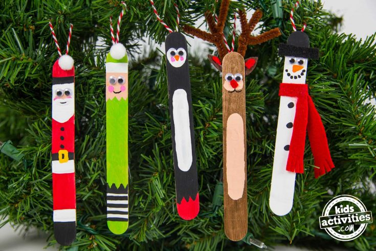 Craft Stick Christmas Ornaments Santa Elf Penguin Reindeer Snowman Close