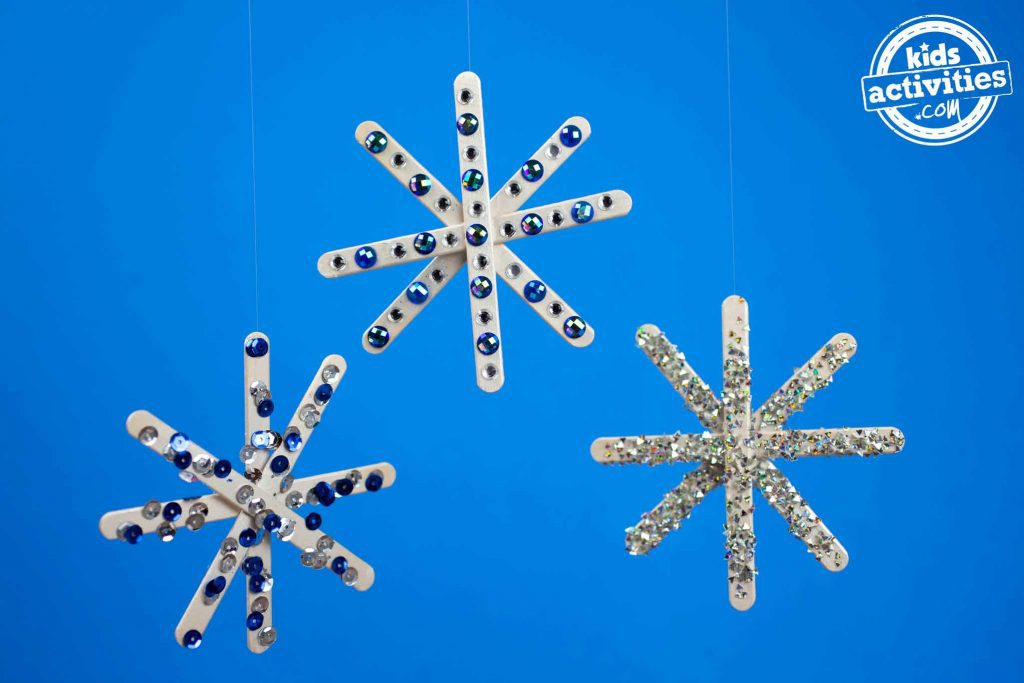 Craft Stick Snowflakes Three Hanging