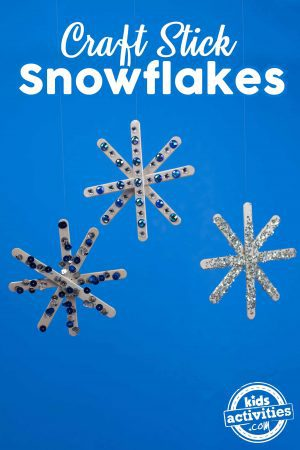 Craft Stick Snowflakes Three Hanging With Title