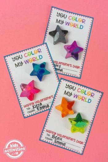 DIY Galaxy Crayon Valentines for Kids Color My World