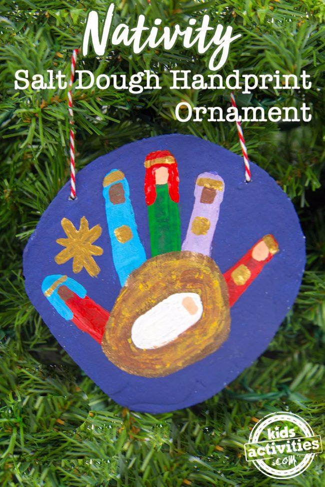 A hand print craft that makes a nativity salt dough ornament.