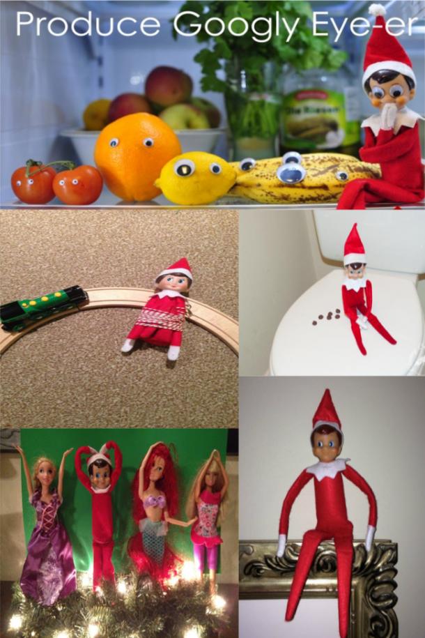 Idées drôles d'elfe sur l'étagère
