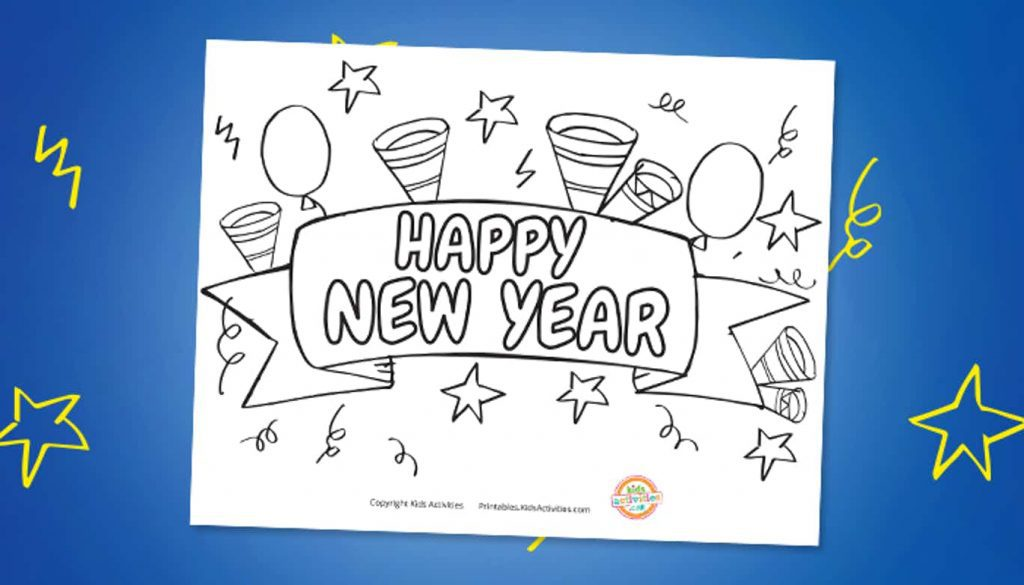Happy New Year Coloring Page shown on blue background with stars and squiggles