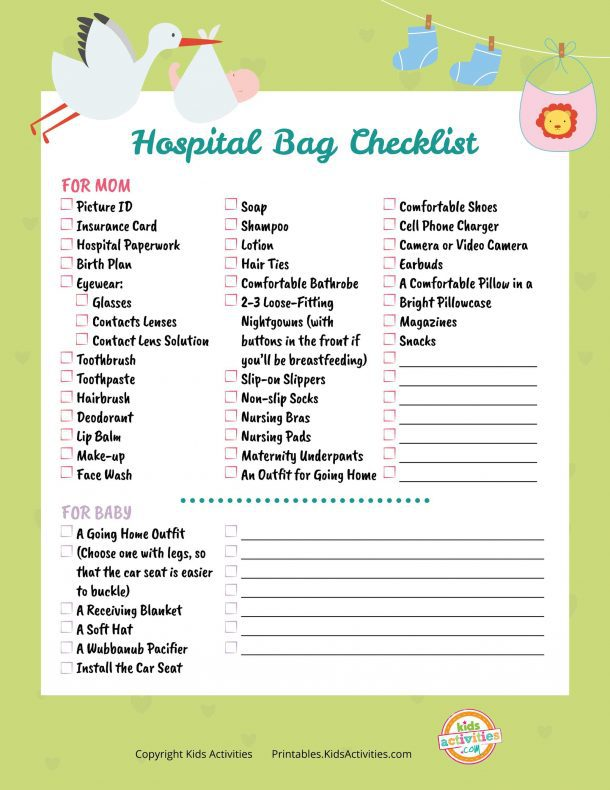 Hospital Bag When Having Baby Printable Checklist