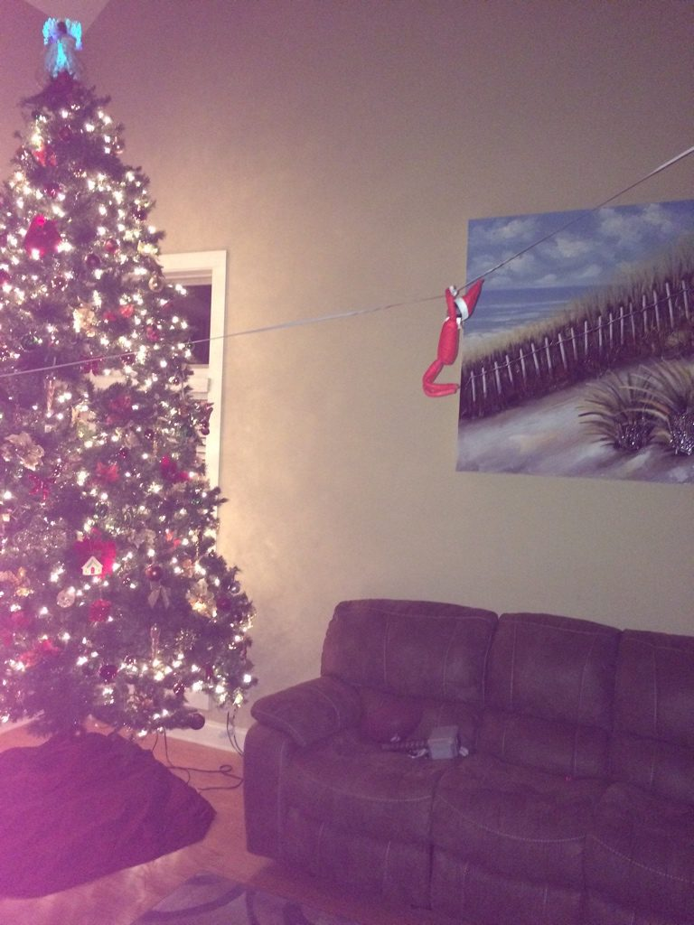 Ziplining Elf on the Shelf