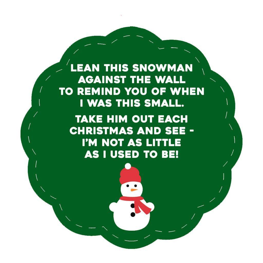 Kid Sized Snowman Gift Tag