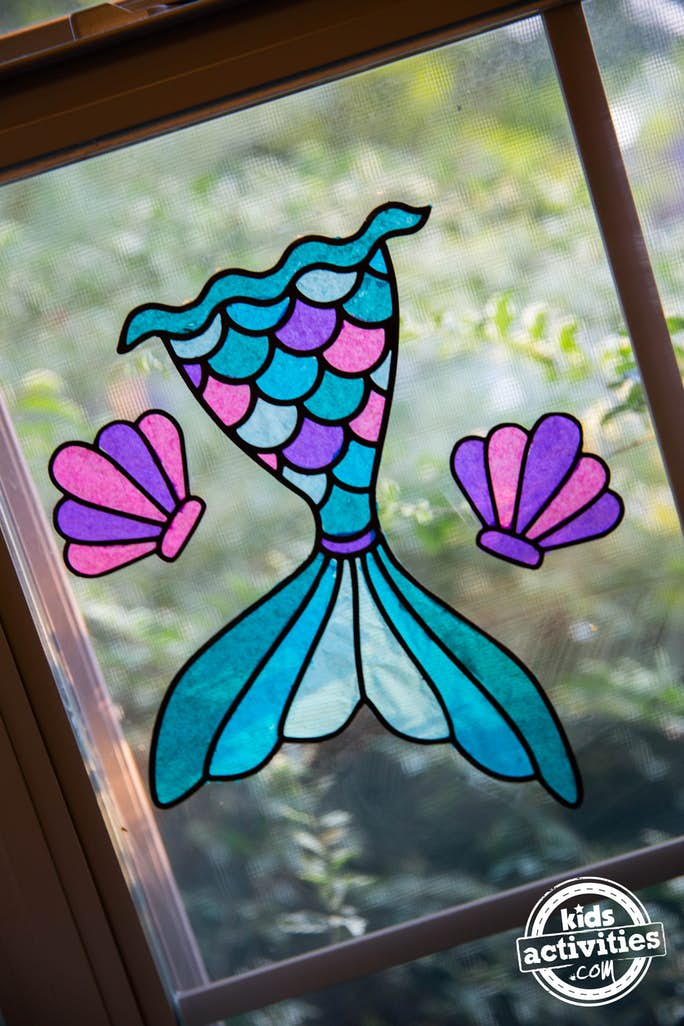 mermaid tail tissue paper suncatcher