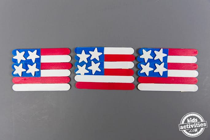 American flags from popsicle sticks