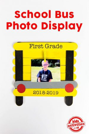 School Bus Photo Frame from Wooden Craft Sticks