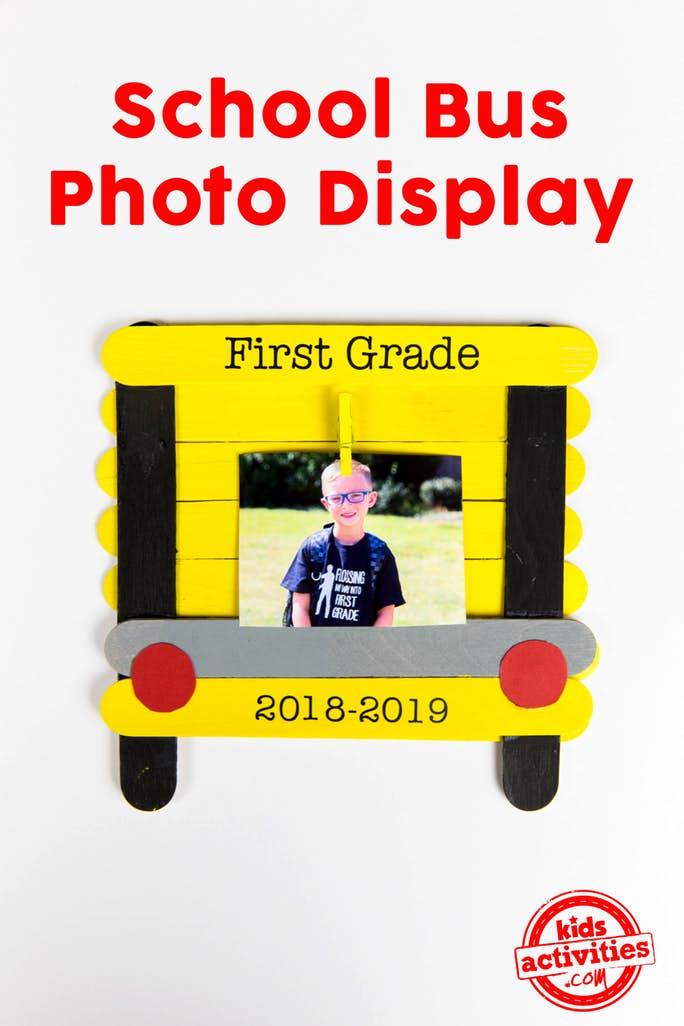 School Bus Photo Frame from Wooden Craft Sticks
