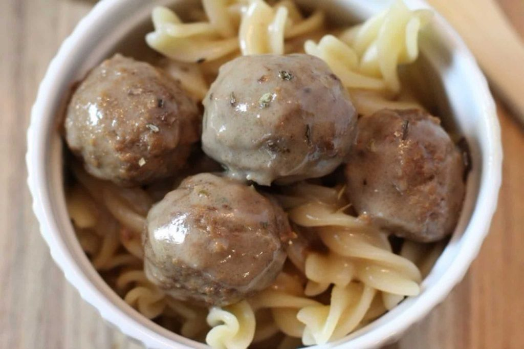Slow Cooker Swedish Meatballs In Bowl