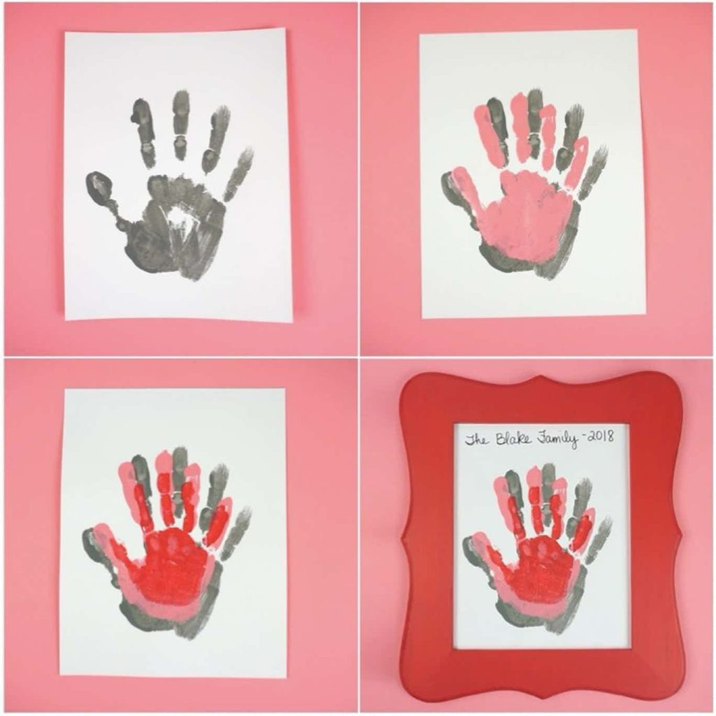Valentines Day Handprint Art project for kids variations