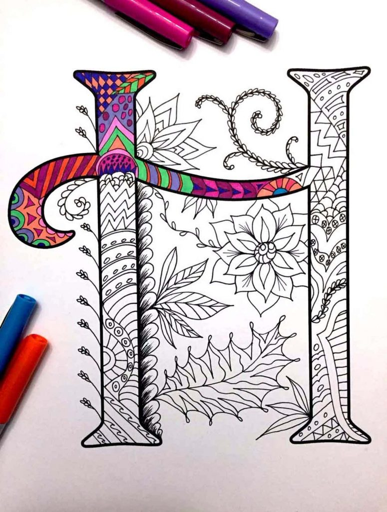 Alphabet Zentangle Design A-Z Printable Coloring Pages