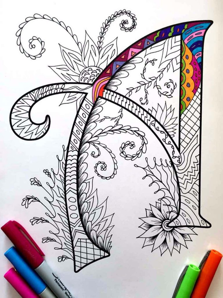 alphabet zentangles coloring pages letter A