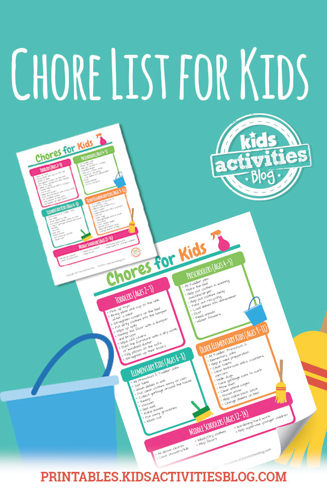 picture relating to Chores Printable named Printable Chore Listing For Young children Through Age
