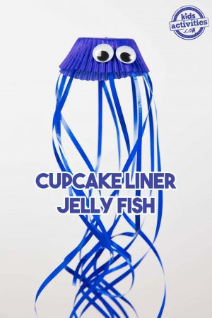 cupcake liner jelly fish no mess craft for kids