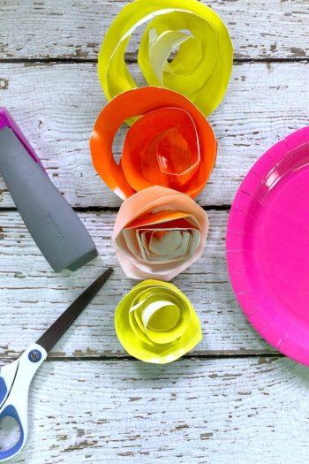 paper plate rose craft supplies