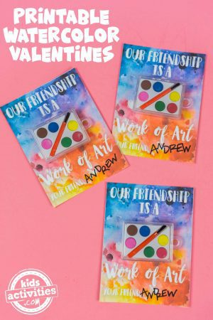 printable watercolor valentines for kids