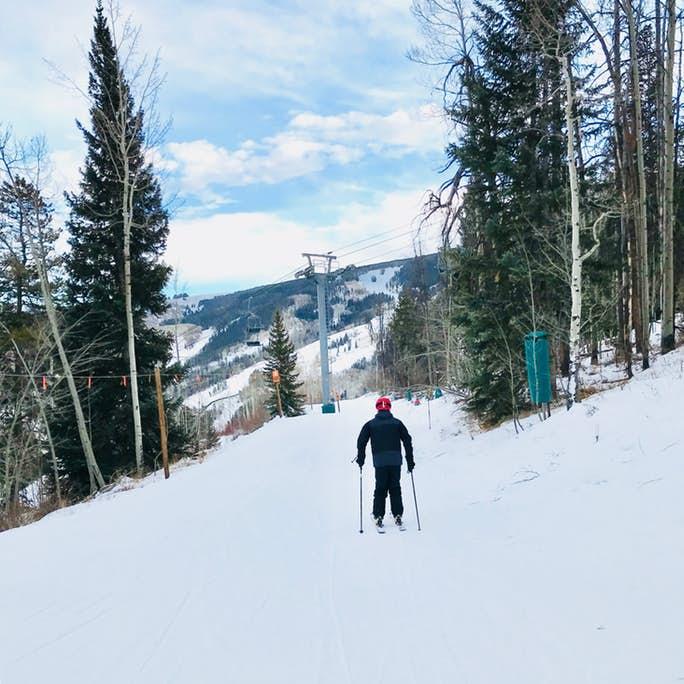 skiing down the mountain