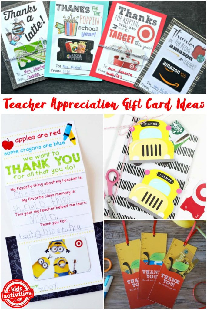 teacher appreciation gift card holders - ideas and printables