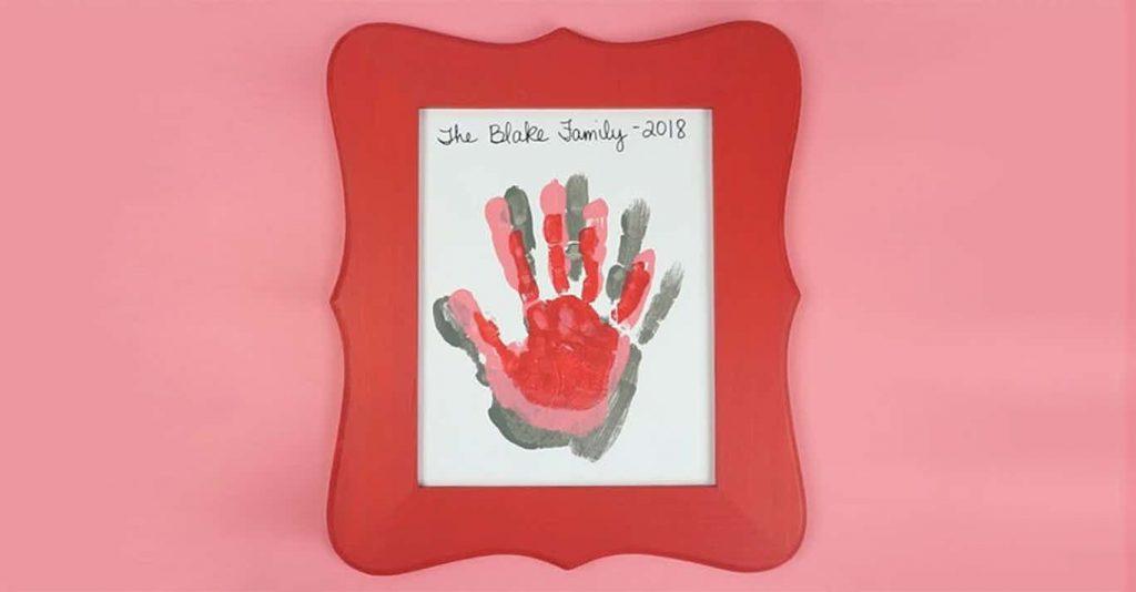 valentines day handprint art for kids