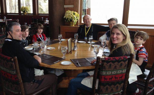 Family dinner on mountain top