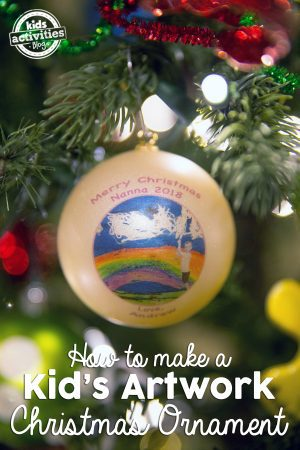 kids' artwork on a christmas ornament