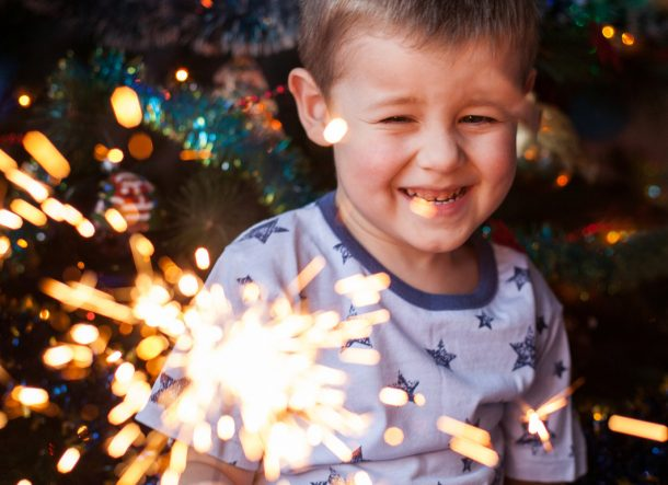 New year party decorations to include sparklers, and streamers