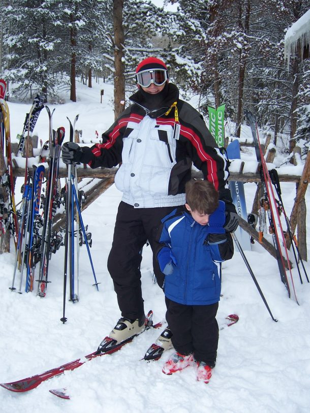 Grandpa and Ryan skiing in Colorado