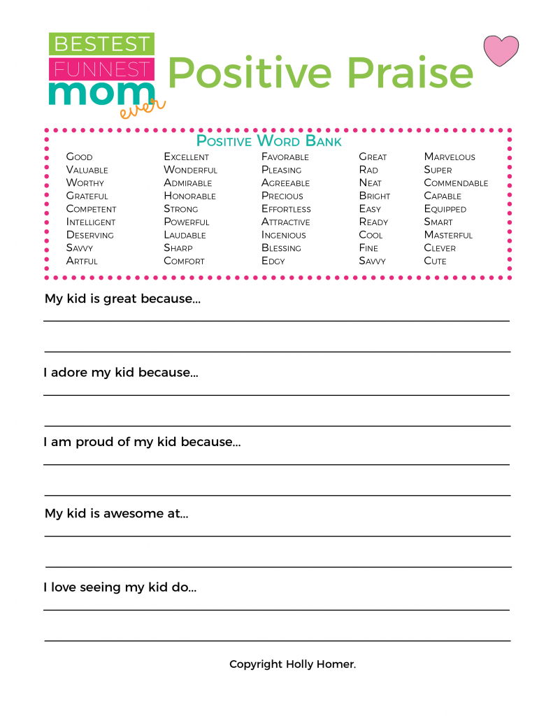 Love 2 - Positive Words Praise Worksheet